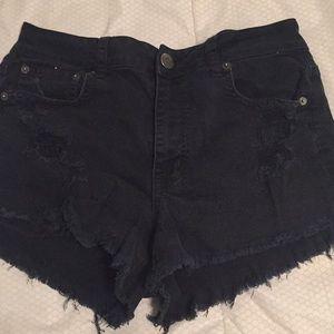 American Eagle black distressed jean shorts